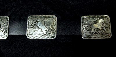 Image 6 of Eric Delgarito Navajo Sterling Silver Horse Storyteller Concho Belt