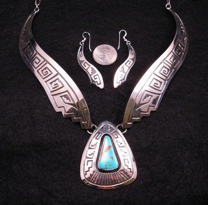 Image 3 of Everett & Mary Teller Navajo Number 8 Turquoise Silver Necklace