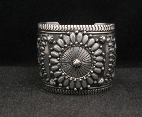 Image 0 of Extra-Wide Darryl Becenti Repousse Stamped Sterling Silver Bracelet
