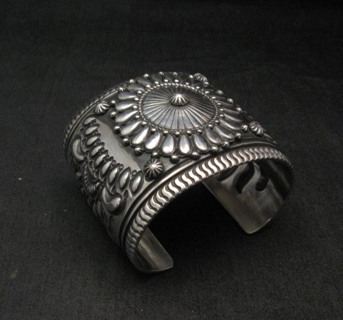 Image 1 of Extra-Wide Darryl Becenti Repousse Stamped Sterling Silver Bracelet