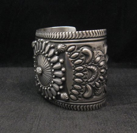 Image 3 of Extra-Wide Darryl Becenti Repousse Stamped Sterling Silver Bracelet