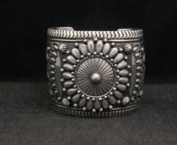 Extra-Wide Darryl Becenti Repousse Stamped Sterling Silver Bracelet