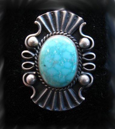 Image 0 of Fancy Derrick Gordon Navajo Turquoise Silver Ring Sz8
