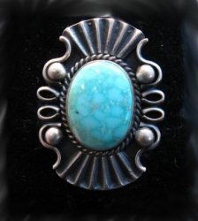 Fancy Derrick Gordon Navajo Turquoise Silver Ring Sz8