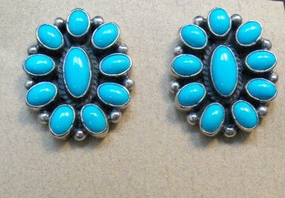 Image 2 of Geneva Apachito ~ Navajo ~ Turquoise Cluster Earrings