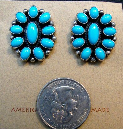 Image 1 of Geneva Apachito ~ Navajo ~ Turquoise Cluster Earrings