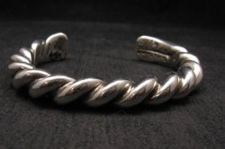 Heavy Navajo Orville Tsinnie Sterling Silver Twist Bracelet - Large