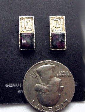 Image 0 of Hopi Silver & Eudialyte Earrings, Bennard & Frances Dallasvuyaoma