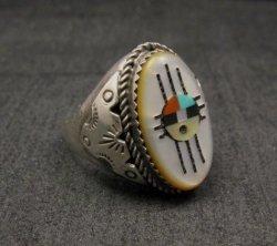 Old J Hustito Zuni Native American Zia Sunface Ring Sz11-1/2