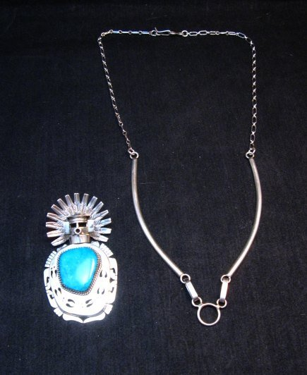 Image 2 of Indian Turquoise Kachina Pin Pendant Necklace, Nelson Morgan Navajo