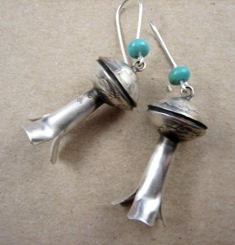 Image 0 of James Mccabe Navajo Old Coin (Real Dimes) Squash Blossom Earrings