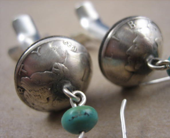 Image 2 of James Mccabe Navajo Old Coin (Real Dimes) Squash Blossom Earrings