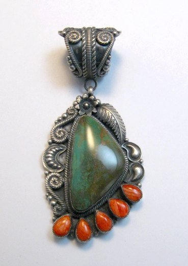 Image 0 of Kirk Smith Navajo Turquoise Spiny Oyster Silver Pendant