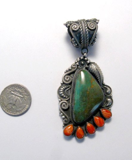Image 1 of Kirk Smith Navajo Turquoise Spiny Oyster Silver Pendant