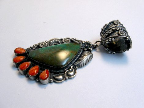 Image 2 of Kirk Smith Navajo Turquoise Spiny Oyster Silver Pendant