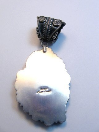Image 3 of Kirk Smith Navajo Turquoise Spiny Oyster Silver Pendant