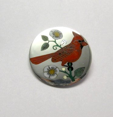 Image 0 of Ruddell & Nancy Laconsello ~ Zuni ~ Inlaid Cardinal Bird Pin Pendant