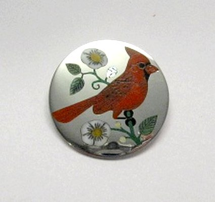 Image 1 of Ruddell & Nancy Laconsello ~ Zuni ~ Inlaid Cardinal Bird Pin Pendant