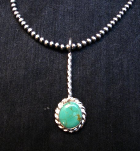 Image 3 of Navajo Turquoise Sterling Silver Stick Pendant, Everett & Mary Teller