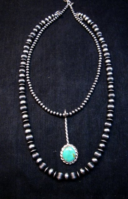 Image 4 of Navajo Turquoise Sterling Silver Stick Pendant, Everett & Mary Teller