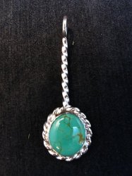 Navajo Turquoise Sterling Silver Stick Pendant, Everett & Mary Teller