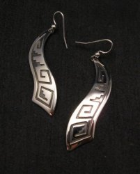 Long Native American Wavy Silver Earrings, Everett & Mary Teller