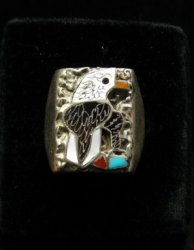 Native American Inlaid Bald Eagle Sterling Silver Ring sz11