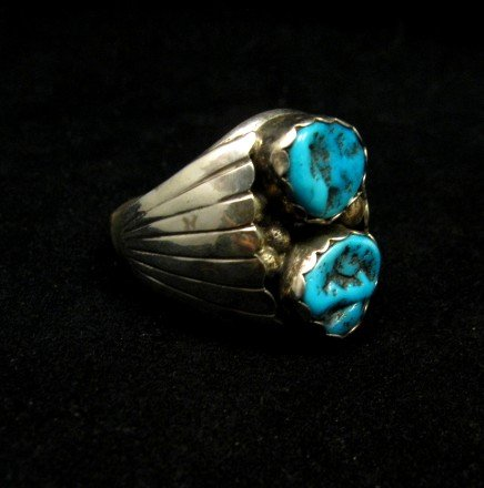 Image 1 of Native American Navajo 2-stone Turquoise Silver Ring sz12