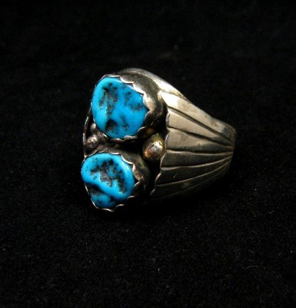 Image 2 of Native American Navajo 2-stone Turquoise Silver Ring sz12