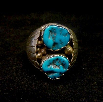 Image 4 of Native American Navajo 2-stone Turquoise Silver Ring sz12