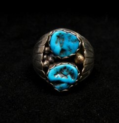 Native American Navajo 2-stone Turquoise Silver Ring sz12