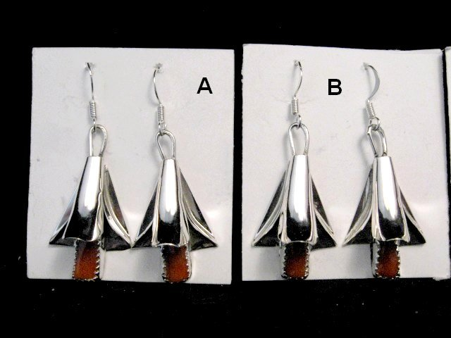 Image 1 of Native American Navajo Coral Squash Blossom Earrings, Louise Yazzie