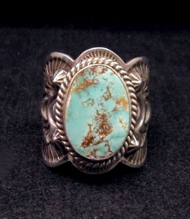 Image 0 of Native American Navajo Turquoise Silver Ring sz11, Happy Piasso