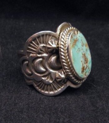 Image 2 of Native American Navajo Turquoise Silver Ring sz11, Happy Piasso