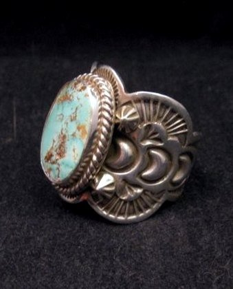 Image 1 of Native American Navajo Turquoise Silver Ring sz11, Happy Piasso