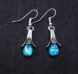 Native American Navajo Turquoise Squash Blossom Earrings, Doris Smallcanyon