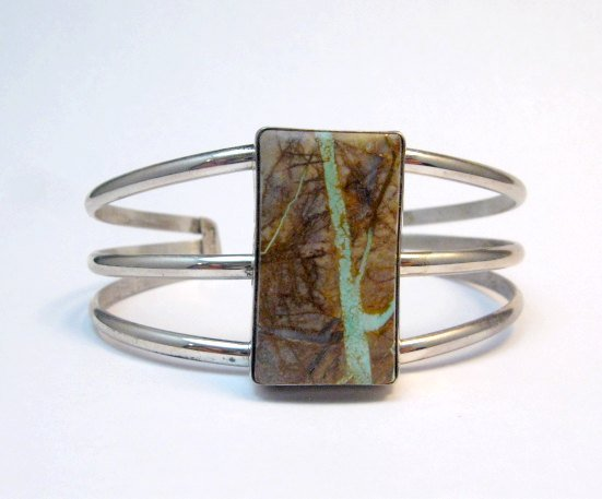 Image 1 of Native American Ribbon Turquoise Silver Bracelet