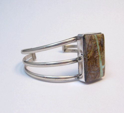 Image 2 of Native American Ribbon Turquoise Silver Bracelet