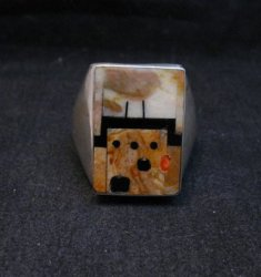 Native American Zuni * Gilbert Calavaza * Pueblo Inlay Silver Ring, Sz13-1/2