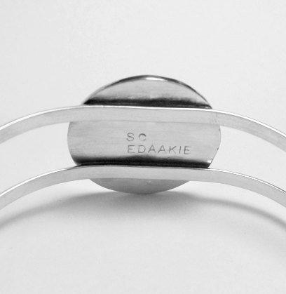 Image 1 of Native American Zuni Inlaid Cardinal Silver Bracelet - Sanford Edaakie