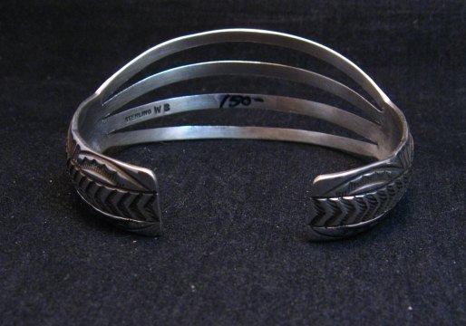 Image 4 of Navajo Silver 4-Way Split Band Cuff Bracelet, Wilbert Benally