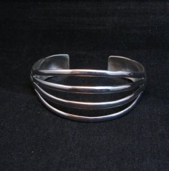 Navajo 4-Way Split Silver Ring sz9-1/2, Wilbert Benally