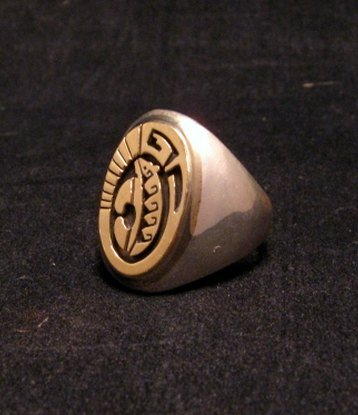 Image 1 of Navajo Calvin Peterson 14K Gold & Sterling Silver Ring sz9-1/2