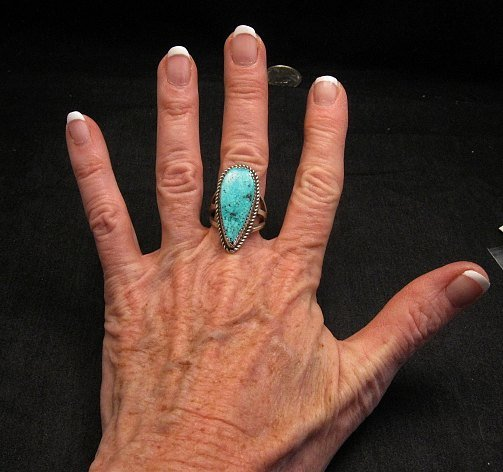 Image 1 of Navajo Gene & Martha Jackson Turquoise Silver Ring Sz7-1/2