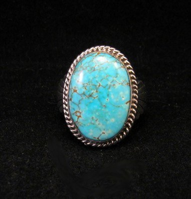 Image 0 of Navajo Indian Candelaria Turquoise Silver Ring sz10, Wilson Padilla