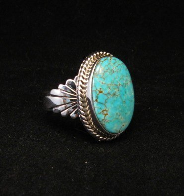 Image 1 of Navajo Indian Candelaria Turquoise Silver Ring sz10, Wilson Padilla