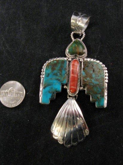 Image 1 of Navajo Indian Turquoise Thunderbird Pendant, Martha Willeto