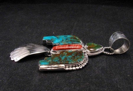 Image 2 of Navajo Indian Turquoise Thunderbird Pendant, Martha Willeto