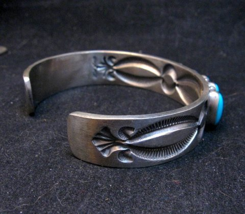 Image 3 of Navajo Kirk Smith Turquoise Sterling Silver Row Bracelet X-Large