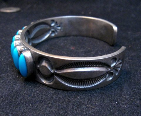 Image 4 of Navajo Kirk Smith Turquoise Sterling Silver Row Bracelet X-Large